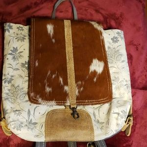 Myra Bloom Bleach Canvas and Cowhide Backpack